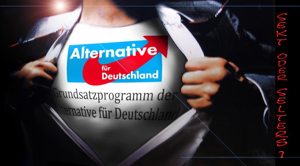 Grundsatzprogramm der AfD auf stolzer Brust von Superman