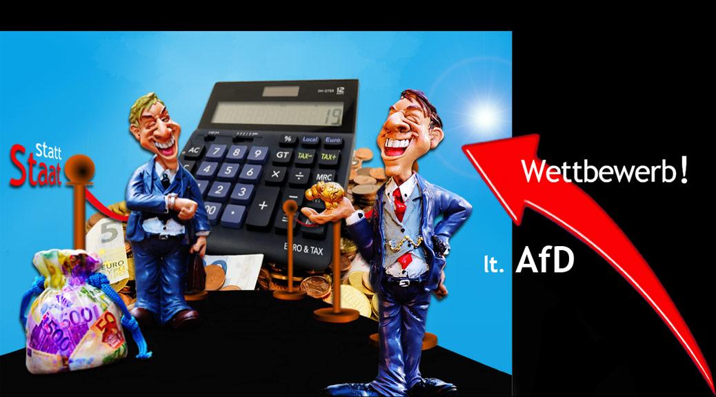 Karrikatur zu Wettwerb der Unternehmer mit Geld und Rechenmaschine