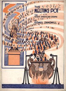 """Melting Pot, der amerikanische """"Schmelztiegel"""" 1916 illustriert"""